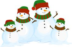 Christmas Clip Art including that includes snowmen and carolers. You will find snowmen doing all sorts of things, riding on a sled, giving gifts and other holiday activities along with carolers, you and old alike.: Snowman Family