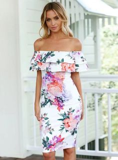 Floral off Shoulder Ruffle Short Sleeve Bodycon Pencil Dress OASAP.com