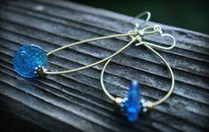 vintage blue. recycled guitar string earrings