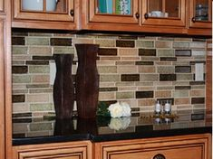 Kitchen Granite Countertops Ideas With Mosaic Tile Glass Backsplash Sheets With Natural Rustic Brown Colors Wooden Floating Kitchen Cabinet ...