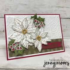 Poinsettia Place Suite Poinsettia Cards, Christmas Poinsettia, Stampin Up Christmas, Christmas And New Year, Christmas Holidays, Christmas Crafts, Paper Craft Making, Christmas Catalogs, Xmas Cards