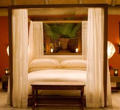 Love this modern four poster bed with curtains! Want it!