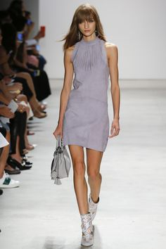 Rebecca Minkoff | Spring 2016 Ready-to-Wear | 14 Grey suede sleeveless mini dress