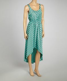 This Mint & Charcoal Stripe Hi-Low Dress - Women by SHE is perfect! #zulilyfinds