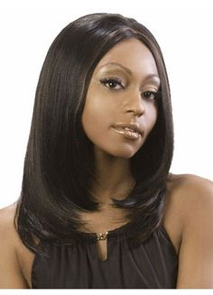 Medium Length Straight Shag Cut Synthetic Wig