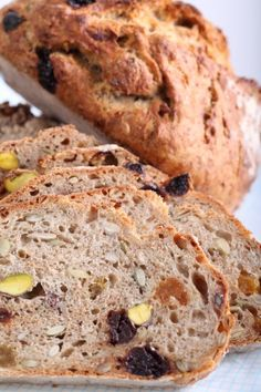 No Knead: Muesli Whole Grain Spelt Loaves with Cherries & Pistachios | Weekend Bakery