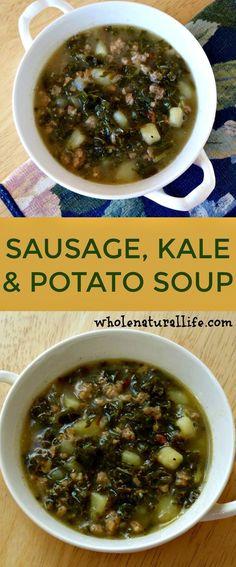 Sausage kale potato soup | Healthy kale potato soup | Dairy-free kale potato soup