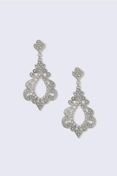 Silver Look Crystal Cut Out Drop Earring