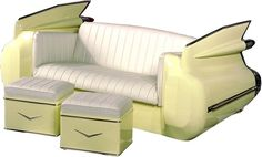 1959 Cadilac sofa - front view with matching footstools