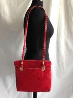 Details about Vintage RED METAL MESH Handbag SHOULDER Bag Braided Straps  GOLD Hardware LOOK ccfbe95978c9c