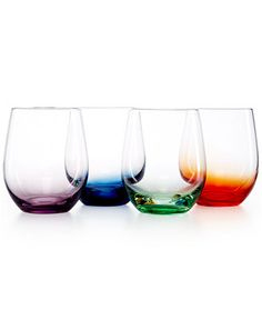 The Cellar Set of 4 Assorted Color Stemless Wine Glasses - - Macy's