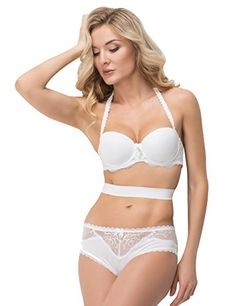 2ed6e1c27a00f VIP Comfy Push up Bra and Sexy Lace Trim Boyshort Brief Panty Sets Stretchy  Teddy Bodysuit Lingerie White MultiWay Bra   Learn more by visiting the  image ...
