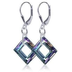 SCER197 Made with Swarovski Elements? Square Vitrial Light Crystal Sterling Silver Leverback 1.5` Dangle Earrings