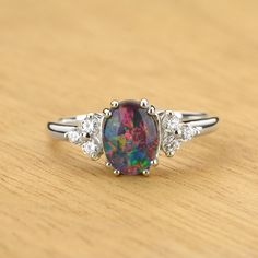 Black Opal & Diamond Classic Ring in 14K Gold by Anderson-Beattie