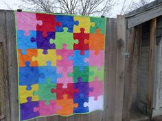 "This puzzle quilt isn't nearly as hard to make as you might think.  It's all just a bunch of squares with the ""knobbies"" as I call them ap..."