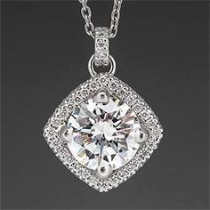 Michael B Trois Collection 2 Carat Diamond Pendant Necklace Platinum