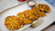 Low carb salmon vegetable fritters