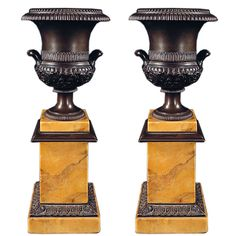 Fine Pair of French Empire Bronze Urns ca. 1840
