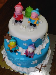 Peppa pig, George and friends winter cake