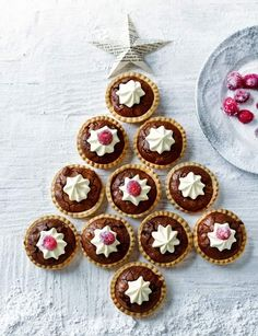 A fun take on a classic, these brownie mince pies from Sarah Randell at Sainsbury's magazine will disappear even quicker than the original kind Xmas Food, Christmas Sweets, Christmas Cooking, Christmas Goodies, Christmas Cakes, Christmas Catering, Xmas Cakes, Christmas Brownies, Christmas Stuff