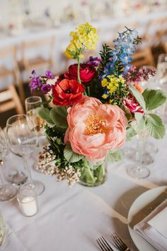 Riverside London Wedding with an Abundance of Colourful Flowers Peonies Wedding Centerpieces, Colorful Centerpieces, Spring Wedding Decorations, Wedding Reception Flowers, Spring Wedding Flowers, Floral Wedding, Natural Wedding Flowers, Spring Flower Bouquet, Peonies Centerpiece