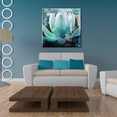 Medium sized and featuring green watery hues, this painted petal will bring intrigue and natures beauty into your home or business.