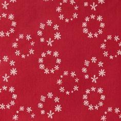 Textilwachstuch, Rot mit Schneekristalle