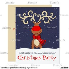 Christmas Party Invitation Invitations Reindeer Deer