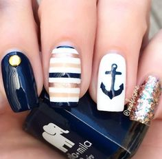 navy + gold nautical nails stripes + anchor nailart, perfect for summer Anchor Nail Designs, Nautical Nail Designs, Nautical Nail Art, Beach Nail Designs, Navy Nail Designs, Nautical Stripes, Navy Nails, Striped Nails, Nail Polish Designs