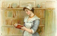 This picture represents Elizabeth's love for reading/books.