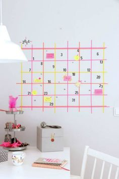 10 Amazing Back To School Washi Tape DIY's - washi tape wall calendar - click through to read the rest of the projects