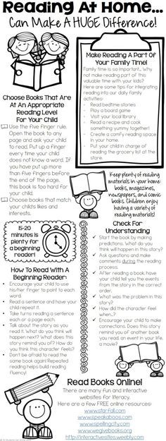 Reading At Home - Tips For Parents. This printable includes tips for : - integrating reading in our daily family activities - choosing appropriate books - tips for helping beginning readers - practicing fluency & developing comprehension skills! Reading Homework, Reading At Home, First Grade Reading, Reading Workshop, Kindergarten Reading, Reading Skills, Teaching Reading, Reading Tips, Reading Strategies