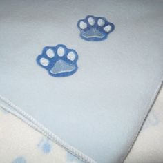 Playful  Puppies and Embroidered  Paw Print  Fleece Baby Blanket Set | KallieJosCottonPatch - Children's on ArtFire