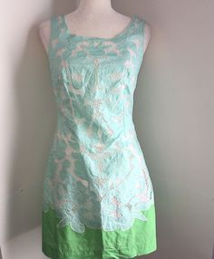 a61c60457ef Lilly Pulitzer Capricia Dress Size 4 Turquoise White Green Floral Eyelet  Cutout