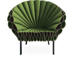 peacock chair, designed by Dror Bershetrit, 2009. Wool & rayon felt, metal base. Made in Italy by Cappellini.