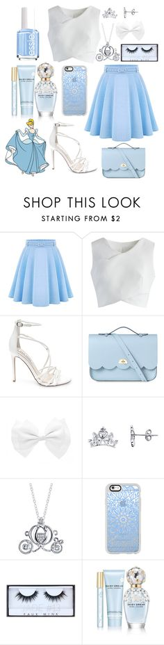 """Cinderella Inspired Outfit"" by the-disney-outfits ❤ liked on Polyvore featuring WithChic, Chicwish, Steve Madden, The Cambridge Satchel Company, Disney, Casetify, Huda Beauty, Marc Jacobs and Essie"