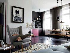 Inviting living space. Get the look: http://www.mattblatt.com.au/Lounge-Chairs/Replica-Hans-Wegner-Papa-Bear-Chair-and-Ottoman.aspx?p11714c236#11722