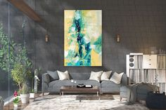 Items similar to Large Modern Wall Art Painting,Large Abstract Painting on Canvas,texture painting,gold canvas painting,gallery wall art on Etsy Large Abstract Wall Art, Large Canvas Art, Abstract Canvas, Canvas Wall Art, Acrylic Canvas, Bright Paintings, Abstract Paintings, Bedroom Paintings, Art Paintings