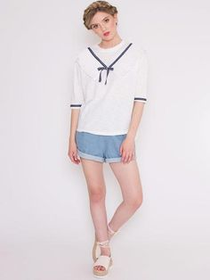 Dahlia Serena White T-Shirt With Sailor Detail Neckline