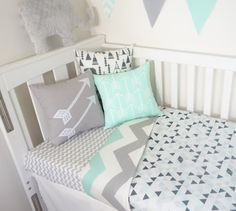 Black grey mint triangles and chevron Cot Quilt by MamaAndCub