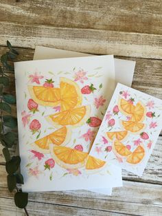 """Greeting card + matching tag """"Oranges & strawberries"""" delight Watercolor Cards, Watercolor Illustration, Strawberry Delight, Matching Gifts, Sell On Etsy, I Am Happy, White Envelopes, Strawberries, Note Cards"""