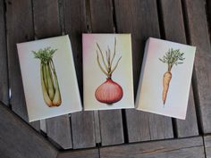 Mirepoix Minis! Tiny stretched canvas veggie prints for the kitchen.