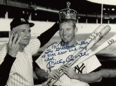 Signed photo given to Ted Williams by Mickey Mantle. Pictures Mantle after his Triple Crown season of Baseball Photos, Sports Photos, Casey Stengel, Yankees World Series, The Mick, Mickey Mantle, Sports Figures, Chicago White Sox, Famous Faces