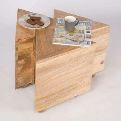 Homescapes Nest of 3 Interlocking V Shape Tables Natural Solid Wood