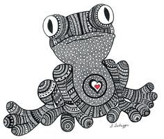 Black and White Zentangle Frog drawing Print by LimeGreenArtShop