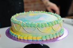 Baker and cake decorator Ashley Shotwell works her vegan baking magic with this rainbow cake.