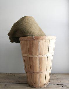 sale: tall primitive wood orchard basket
