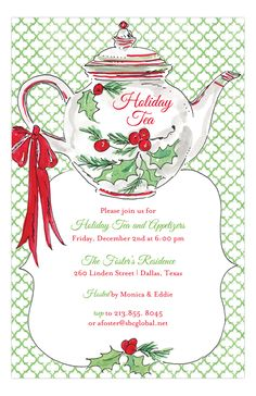 Holiday Tea & Cookie Decorating Party invite. Love this holly traditional invite.| MomTrends