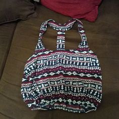 Charlotte russe boho crop top xs Worn 2x most beautiful maroon with blue and white. T back design.  Pic #3 shows some frays nothing to drastic Charlotte Russe Tops Crop Tops