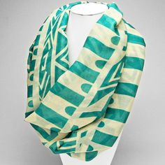 Tribal Geometric Print Infinity Scarf - Teal - The Rustic Shop